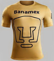 Wholesale Thailand Pumas Unam Mexico Home Yellow Soccer Jersey made by top excellent polyester breathable fabric great embroidery logo
