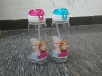 Wholesale Sample order drinkware Frozen Anna and Elsa PP Texture Suction Sippy cups kids cartoon water bottle sports bottle Y30115