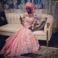 Rosa Sirena vestido de novia con turbante velo de novia de la blusa pura con Cuentas de encaje de mangas Largas de cuello de tripulación musilim Hajji vestidos de novia