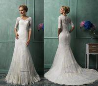 Cheap Sheath/Column 2015 Wedding Dresses Best Model Pictures V-Neck Lace Wedding Dresses