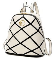 red plaid fabric - 2015 Korean Designer Backpacks Women Double Shoulder Bags Fashion Black White Plaid High Quality Leather Backpack College Girls School Bags