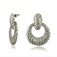 antique silver earings - Simple OL Vintage silver Earrings for office lady Antique silver plated hoop dangle Earrings stud Earings store E0138