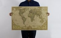 Wholesale Vintage New World Map Travel Home Decoration Detailed Antique Poster Wall Chart Retro Paper Matte Kraft Paper Map World x47cm