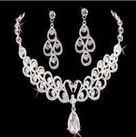 Wedding Jewelry Sets big earrings cheap - Big Discount New necklace and earring set Rhinestones Diamond Designer Evening Bangles Bridal Accessory Jewelry Cheap