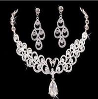 al por mayor descuento collares de diamantes-Descuento grande 2016 nuevo collar y aretes diamantes de imitación de diamante de noche del diseñador de los brazaletes de accesorios joyería nupcial barato
