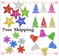 bell stars - New Cheap Hanging Ornament Christmas Tree Ornaments Christmas Bell Christmas Decorations Colorful Flakes Christmas Star Pendant