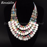beads string string glass beads - 5 Colors Multilayers Beads Chain Chokers Necklaces Women Crystal Glass Beads Shell String Statement Necklaces Pendants