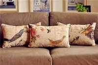 wholesale cushion covers - Vintage Country Floral Bird Cushion cover Waist Throw Cotton Linen Cushion Pillow Home Decorate sofa Cushions cm