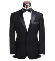Cheap 2015 Classic Slim Fit Two Buttons Black Groom Tuxedos Wedding Suit For Men Groomsmen Suits White Sequins Blazer Jacket+Pants+Tie BG50095