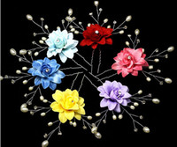 Wholesale 10pcs Fabric Pearl Crystal Beaded Flower Hair Pin For Bridal Wedding Hawaii Party