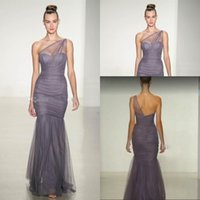 amsale dresses - 2014 New Silver Bridesmaid Dresses by Amsale One Shoulder Sheer Strap Satin Tulle Mermaid Bridesmaid Dress Floor Length Maid of Honor Dress