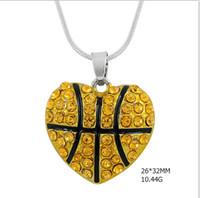 basketball mom - fashion women necklace zinc alloy rhodium enamel clear crystal basketball mom pendant snake chain sports necklace
