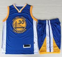 basketball jersey uniform - Warriors Stephen Curry Basketball Jerseys Pant Sets Blue Newest Golden State Sport Uniform Suit