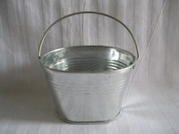 pots - Metal Planter pot garden tin Pail Iron pots flower pot Bucket Galvanized Planter Oval Sharp