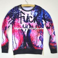 """Cheap New arrive 2014 spring men women 3d novelty sweatshirts galaxy space printing """"fuck you"""" funny pullover hoodies top clothing"""