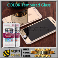 apple iphone box - For Iphone s plus color plating tempered glass mirror colorful front and back screen protector cellphone colorful film with retail box