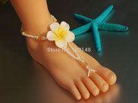 beach fl - Fashion Jewelry Anklets latest design handcraft flower barefoot sandals crystal For beach wedding vocation pool yoga LK FL