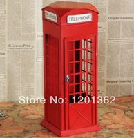 antique telephone cabinet - London Telephone Booth Collection Model Metal Art Crafts Bar Home Decoration Antique Imitation Storage Cabinet Large