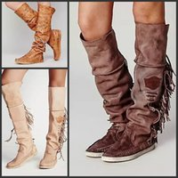 work boots - Tassel Roman Boots For Women Flats Knee Boots Fashion Design High Quality Female Boots Moto Work Boots Shoes