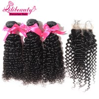 Wholesale Cheap Deep Curl Closure - Lilibeauty hair weaving curly Peruvian afro deep curly 3 bundles with closure unprocessed jerry curl human virgin hair weave cheap weave fas