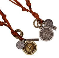 Cheap clock pendant necklace Best real leather necklace
