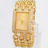 battery chain - New model Hot Sell Feral Beauty Women s Watch three Chain Stainless steel Bracelet Wristwatch Luxury dress watch Gifts