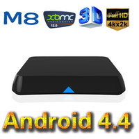 Wholesale XBMC Pre installed EM8 Android KitKat TV Box M8 Amlogic S802 Quad Core Media Player G G Dual WiFi K HDMI BT