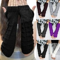 Wholesale New Arrivals Women Lady Knitted Braided Long Winter Fingerless Gloves Wrist Warm Warmer Mittens Fx216