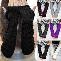 Wool fingerless gloves - New Arrivals Women Lady Knitted Braided Long Winter Fingerless Gloves Wrist Warm Warmer Mittens Fx216