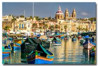 bay boat - Malta Marsaxlokk Bay Landscape Art Silk Fabric Poster Print x36 quot Boats