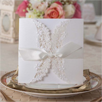 lace wedding invitations - Lace Wedding Invitations White Laser Cut Card Invitation with Ribbon envelope Convites De Casamento as Wedding Decorations