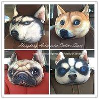 Polyester / Cotton active sku - 30 cm Creative Cartoon dog Car headrest neck pillow car cushion PP cotton core and Active carbon bag SKU A2