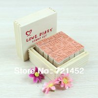 stamps - J35 Set Lovely Diary Pattern Seal Stamp Wooden Box multipurpose Wood Rubber