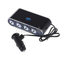 Wholesale GPS NEW Black Way USB Port V V Car Auto Cigarette Lighter Socket Splitter Power Adapter Charger LED Light Switch
