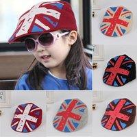 baby hats uk - Children Baby Kids Girls Boy Baseball Hat UK Flag Print Flat Visor Beret Cap Drop shipping