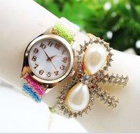 Wholesale 2015 Hot dragonfly diamond watch fashion ladies pearl ribbon dress watch women quartz bracelets rope wrist watches for women