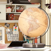 Wholesale 10 Inches LED Geography Earth Nation Star World Mountain Landscape Map Globe Light Metal Wood Base Home Office Decorations Lamp Gifts