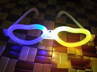 Wholesale 10pcs LED light emitting fluorescent glasses love shape decorated birthday party celebration party supplies