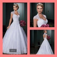 Wholesale 2014 designer new arrival a line white with appliques beaded sequins cap sleeve hollow back sexy detachable train wedding dress bridal gown