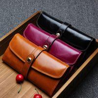 Wholesale Solid High capacity Clutch Bag Purses New Fashion Ladies Genuine Leather Hasp Satchel Purse Women s Wallets Cowhide Long wallet Design B1223