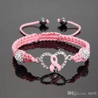 Cheap Fashion Hot Crystal Pink Ribbon Breast Cancer Awareness Bracelet Gift
