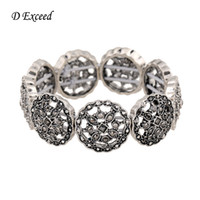 adjustable chunky ring - European Brand Stretchy Bangle Bracelets Antique Silver Chunky Wide Adjustable Hollow Out Carve Flower Bangles Jewelry BL153184