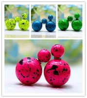 beads pots - 2015 hot design fashion brand jewelry double pearl stud earrings for women luxury beads black pot channel earings