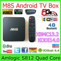 Wholesale M8S Amlogic S812 Quad Core GHZ Android TV Box G GB H HEVC K AC BT HDMI SPDIF RJ45 XBMC KODI14 Smart TV Box