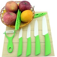 ceramic pieces - 2015 Global Quality quot quot quot quot Inch Ceramic Knife Set Kitchen Knives White Blade Green colors Handle With Sheath Zirconia