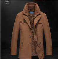 Wholesale Fall Mens Double Collar Wool Parka Winter Warm Coat Outerwear Thick Jacket Overcoats bt457