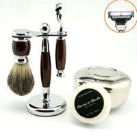 badger bowl - Pro Classy Wet Shaving Kit Safety Razor Pure Badger Brush Stand Bowl Free Soap
