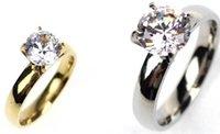 Femmes Bague solitaire mariée engagement cristal Swarovski Zircon Titane Bague acier or argent taille US 6-12 bijoux drop shipping