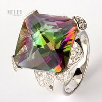 Wholesale Genuine natural crystal jewelry colorful square octagonal ring silver jewelry exaggerated fashion models domineering
