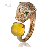 Wholesale Genuine Australian grape natural stone domineering fashion leopard head Queen Fan Silver Ring